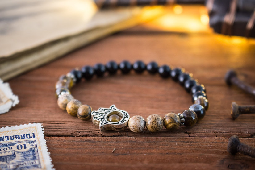 Onyx, jasper stone & tiger eye beaded stretchy bracelet with Hamsa hand