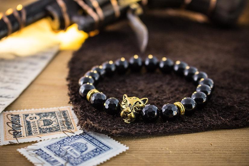 Black onyx beaded stretchy bracelet with gold Leopard
