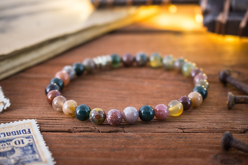 Indian agate beaded stretchy bracelet