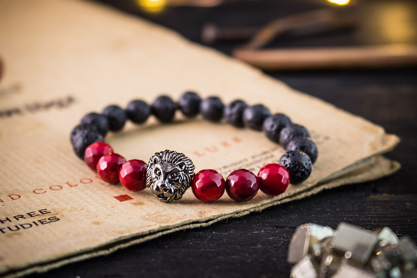 Lava stone & red coral beaded stretchy bracelet with gunmetal lion