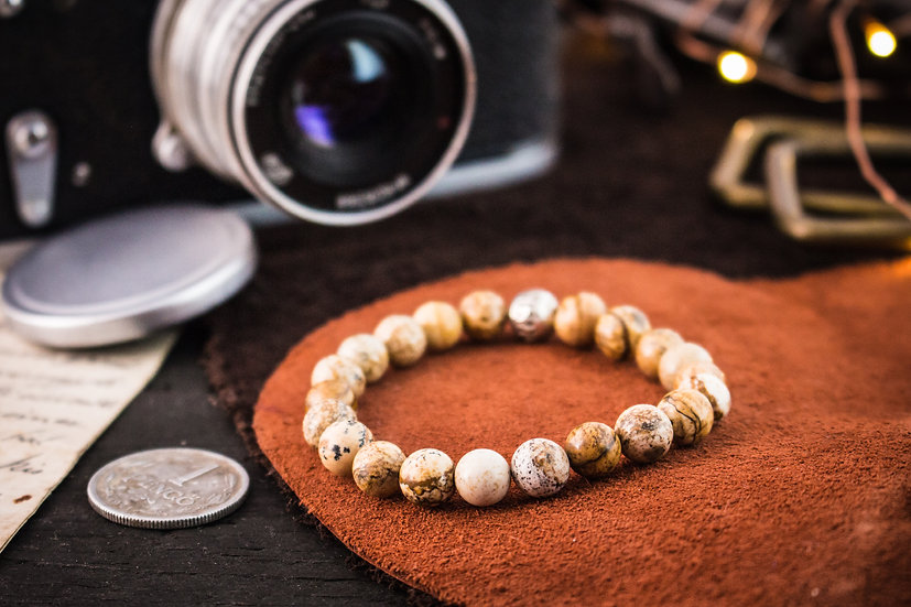 Jasper beaded stretchy bracelet