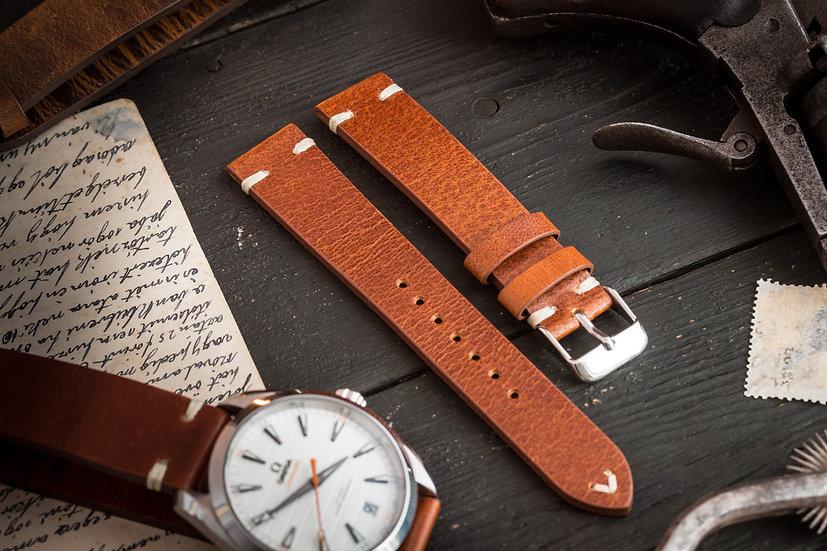 18mm Vintage style dark tan brown leather strap, two stitch watch strap v2