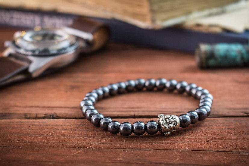 Hematite beaded stretchy bracelet with Buddha