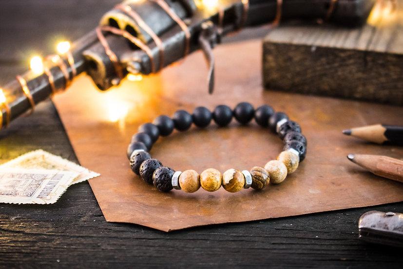 Matte black onyx, lava stone & jasper beaded stretchy bracelet