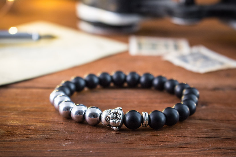 Matte black onyx & silver hematite beaded stretchy bracelet with smiling Buddha