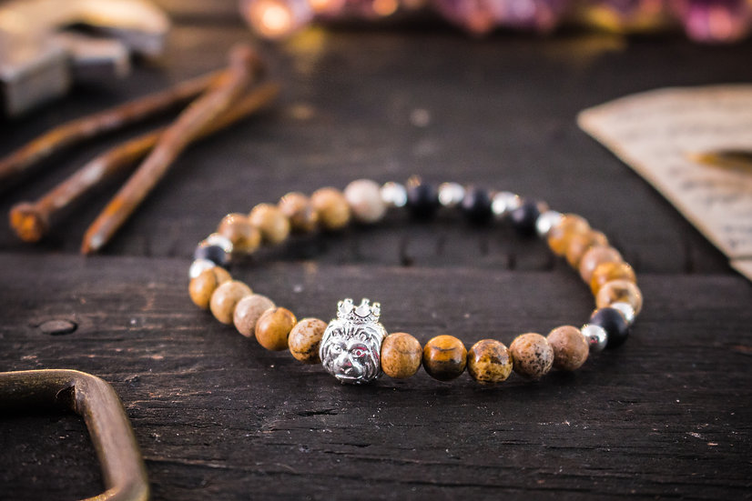 Jasper & onyx beaded stretchy bracelet with sterling silver Lion and beads