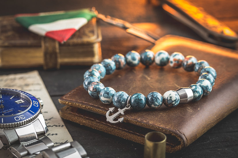 Bluish ocean jade beaded stretchy bracelet with stainless steel anchor