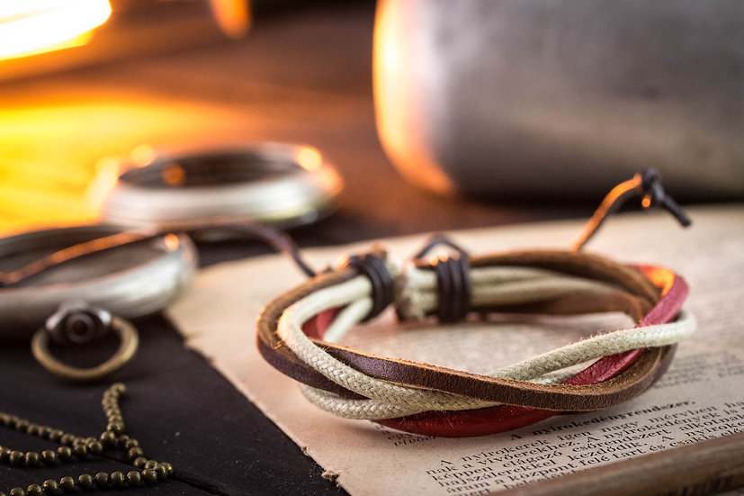 Brown & red genuine leather and beige waxed cord bracelet