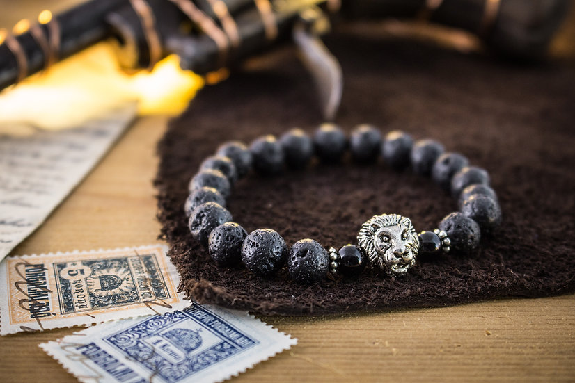 Lava stone beaded stretchy bracelet with silver Lion
