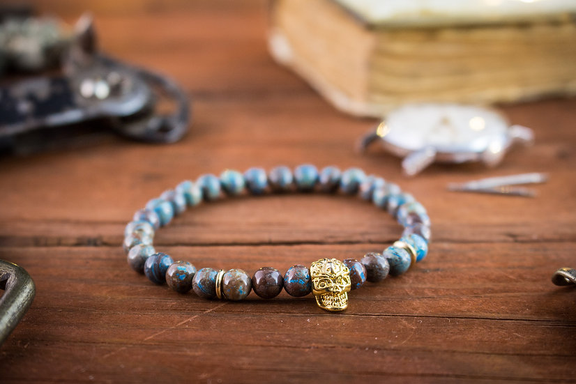 Blue crazy lace agate beaded stretchy bracelet with gold skull