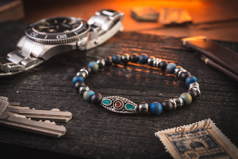 Matte black onyx & blue agate beaded mens stretchy bracelet with tribal bead