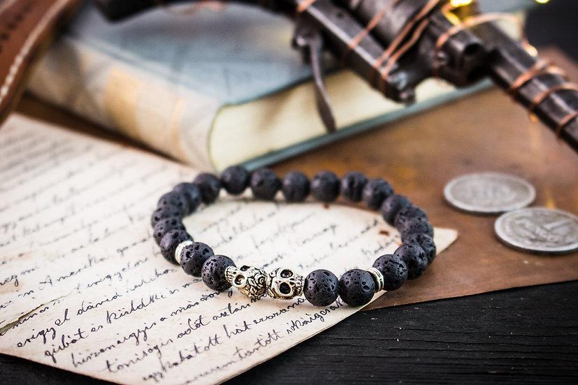 Black lava stone beaded stretchy bracelet with silver skulls