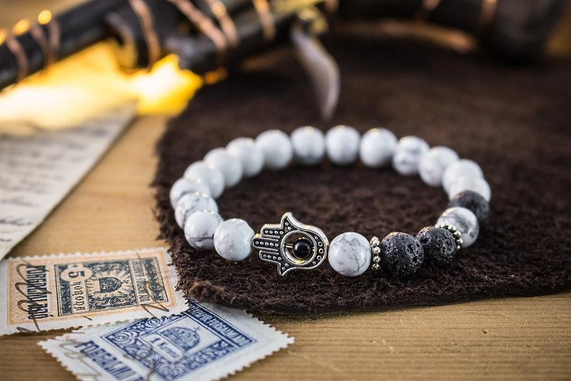 White howlite & lava stone beaded stretchy bracelet with Hamsa hand
