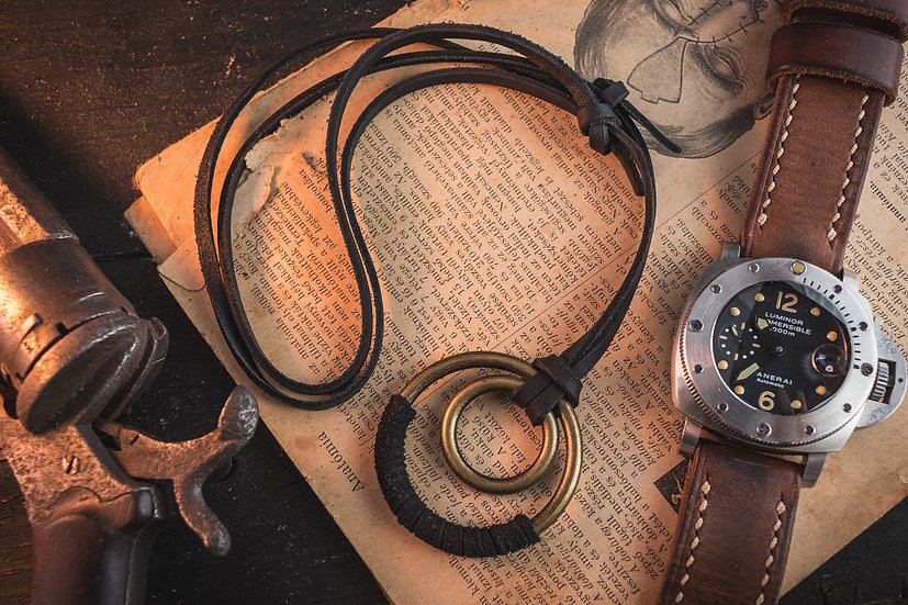 Black genuine leather men's necklace with brass ring pendants