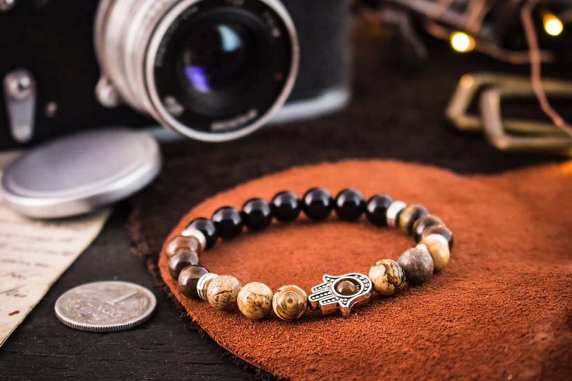 Jasper, tiger eye & onyx beaded stretchy bracelet with silver Hamsa hand