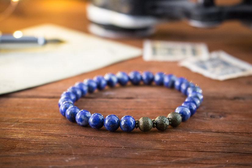 Lapis lazuli beaded stretchy bracelet with bronze beads