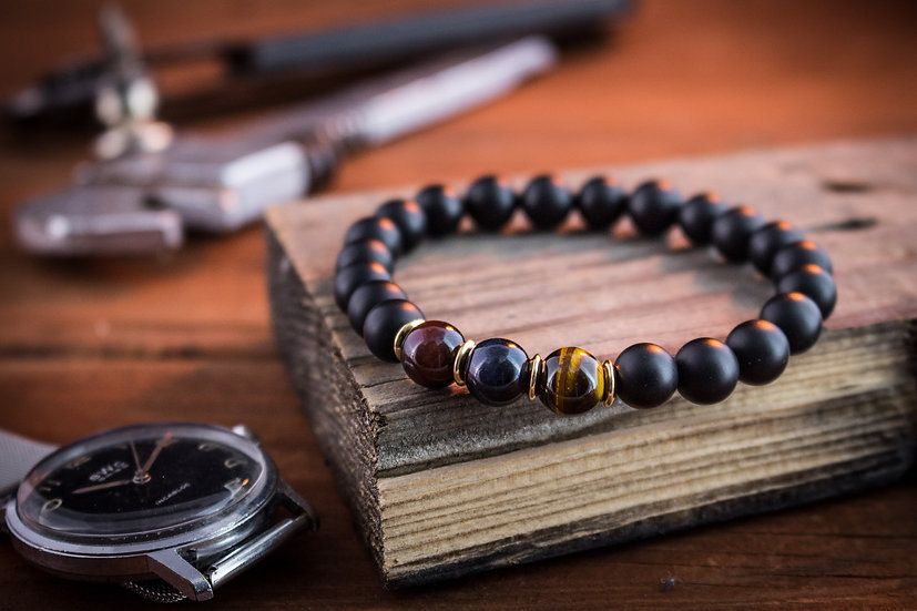 Blue, Red and brown tiger eye & matte black onyx beaded stretchy bracelet