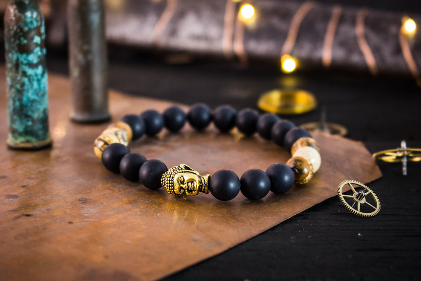 Matte black onyx, brown jasper beaded stretchy bracelet with gold Buddha