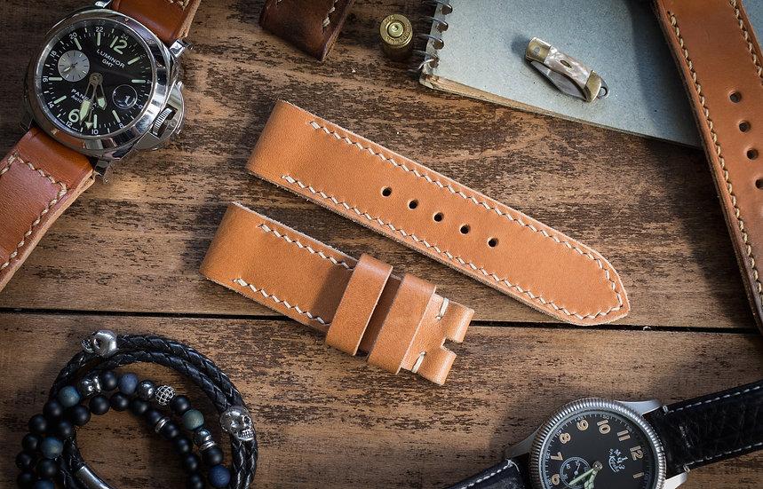 Handmade 24mm saddle brown veg tan leather strap 125/83mm