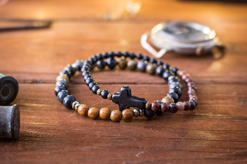 Picasso stone, sandalwood and red agate beaded stretchy bracelets