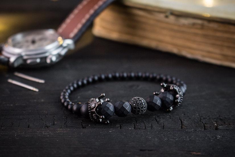 Black crown bracelet - Matte black onyx & lava stone beaded stretchy bracelet