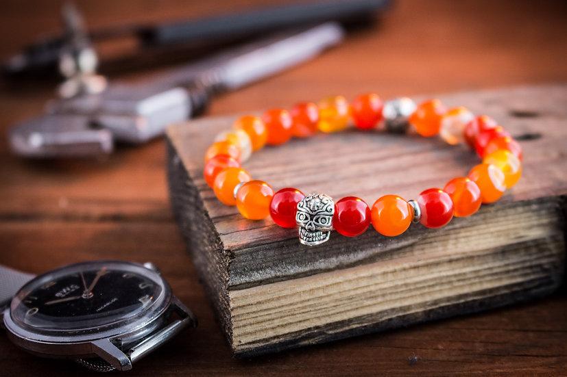 Orange agate beaded stretchy bracelet with silver skull