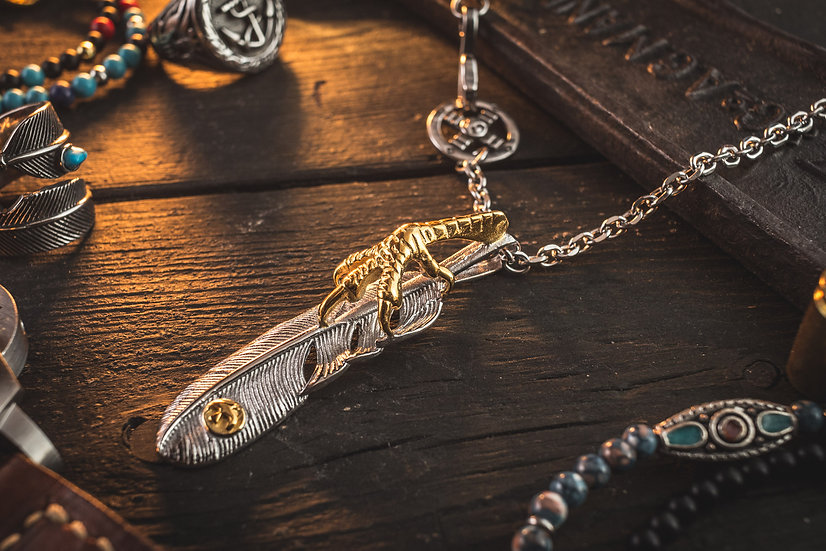 Goro style Stainless Steel Men's Necklace with antiqued Eagle Feather Pendant