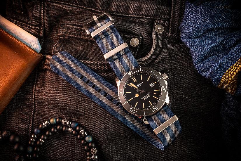 Dark Steel Blue and Gray Seatbelt NATO Watch Strap