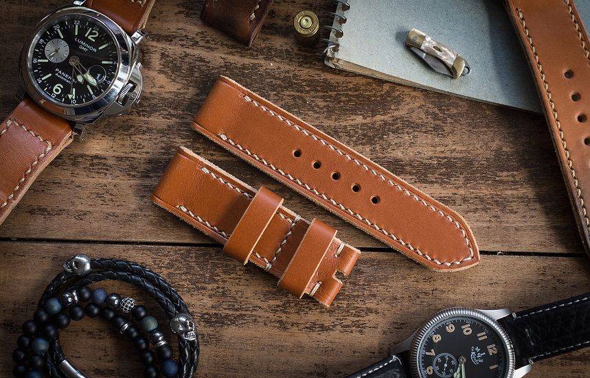 Handmade 24mm saddle brown leather strap 126/83mm