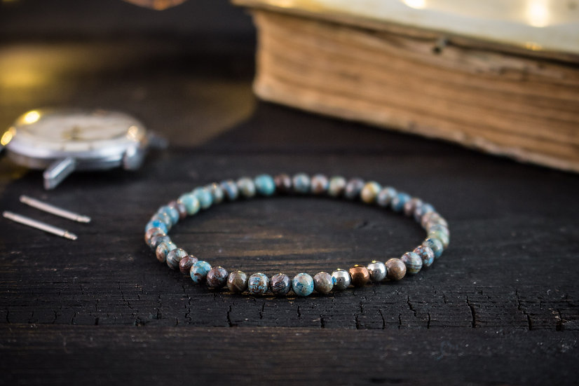 Blue crazy lace agate beaded stretchy bracelet with sterling silver beads