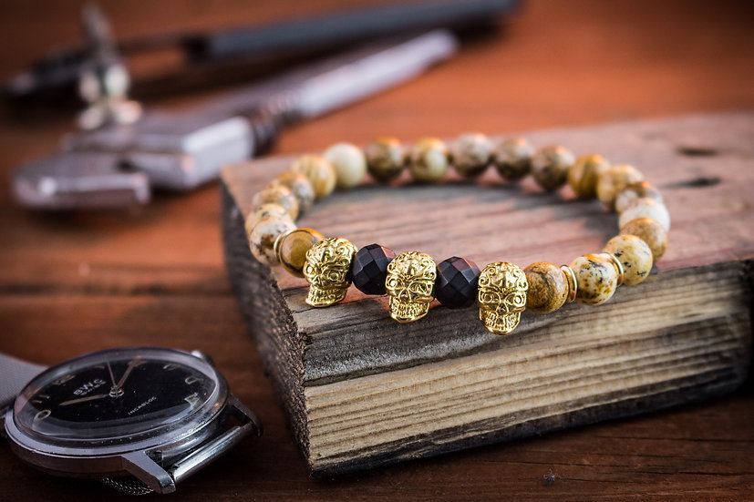 Jasper stone beaded stretchy bracelet with gold skulls