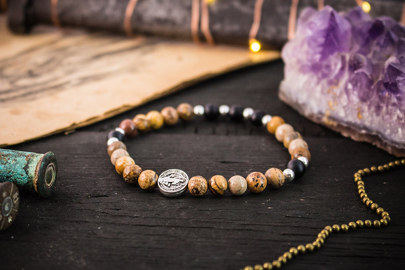 Brown jasper stone beaded stretchy bracelet with sterling silver accents