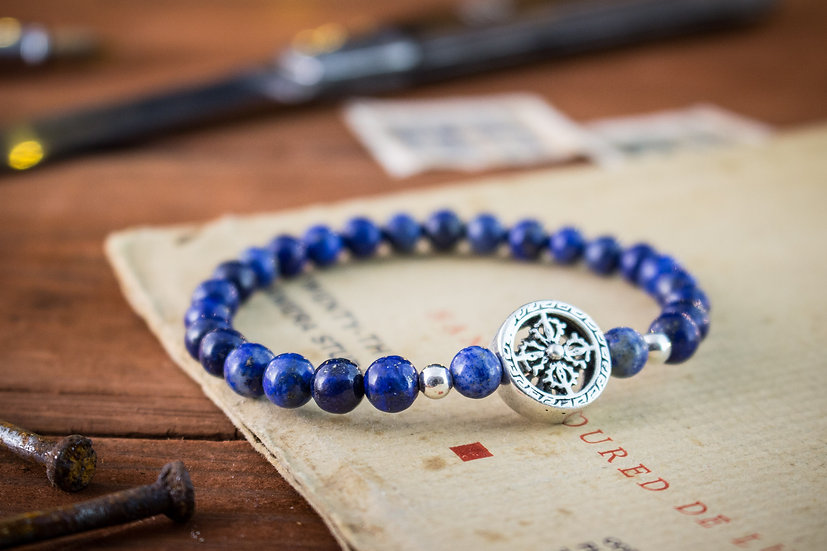 Blue Lapis lazuli beaded stretchy bracelet with sterling silver beads