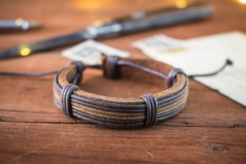 Genuine leather and brown waxed cord bracelet