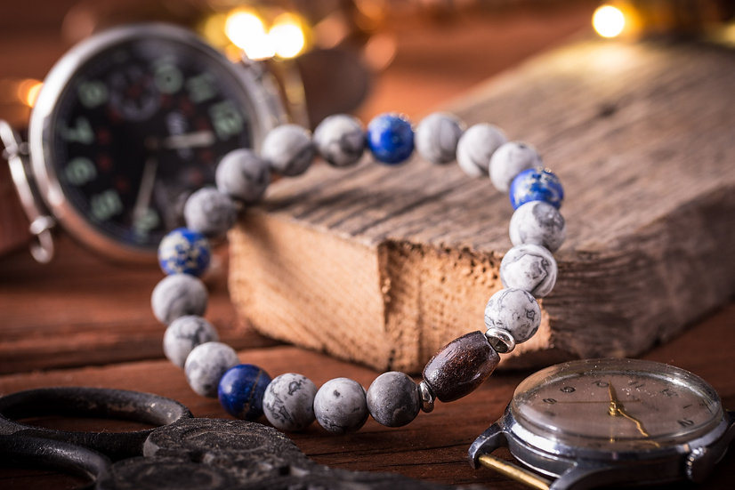 Blue regalite & gray picasso stone beaded stretchy bracelet with wooden beads