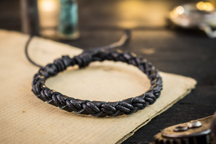 Genuine leather and black waxed cord braided bracelet