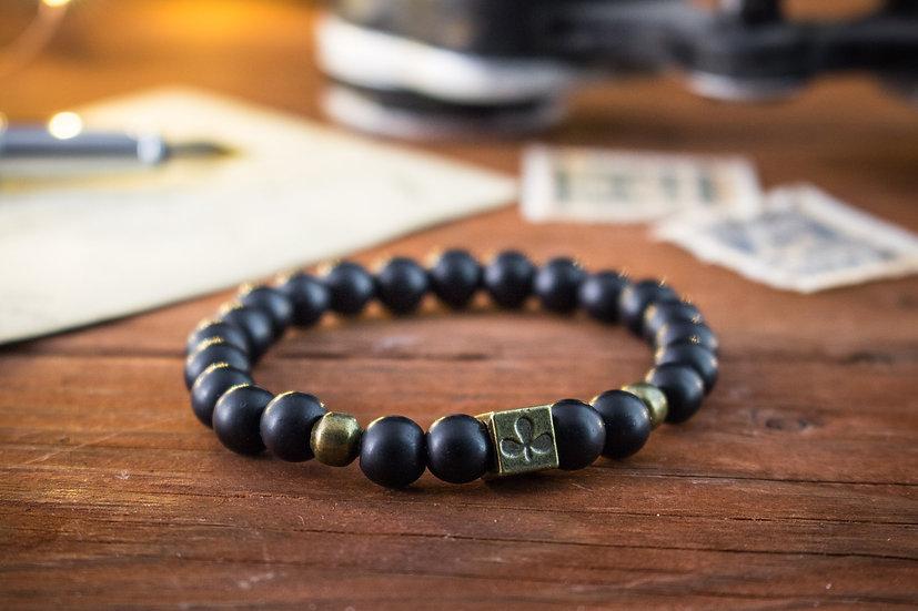Matte black onyx beaded stretchy bracelet with poker pattern