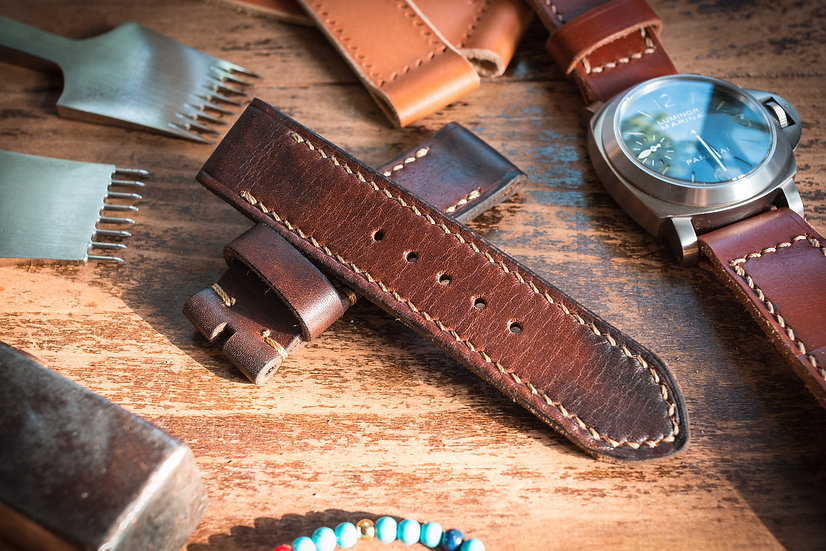 Antiqued handmade 24mm dark brown leather strap 124/85mm, for Panerai
