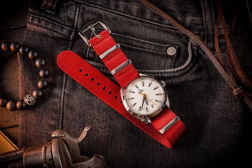 22mm Red premium Seat Belt Nato Watch Strap