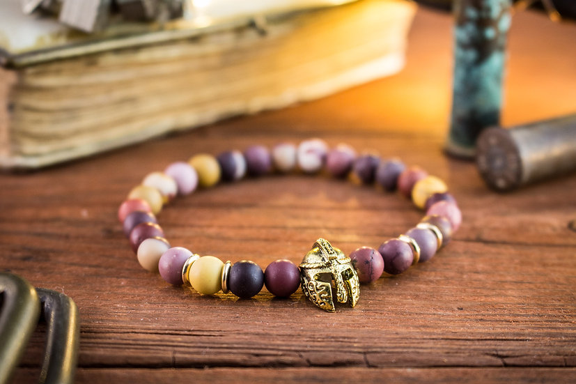 Frosted mookaite beaded stretchy bracelet with gold spartan helmet