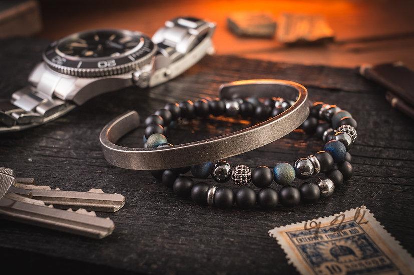 Bundle - Double wrap matte black onyx & blue agate beaded men's bracelets