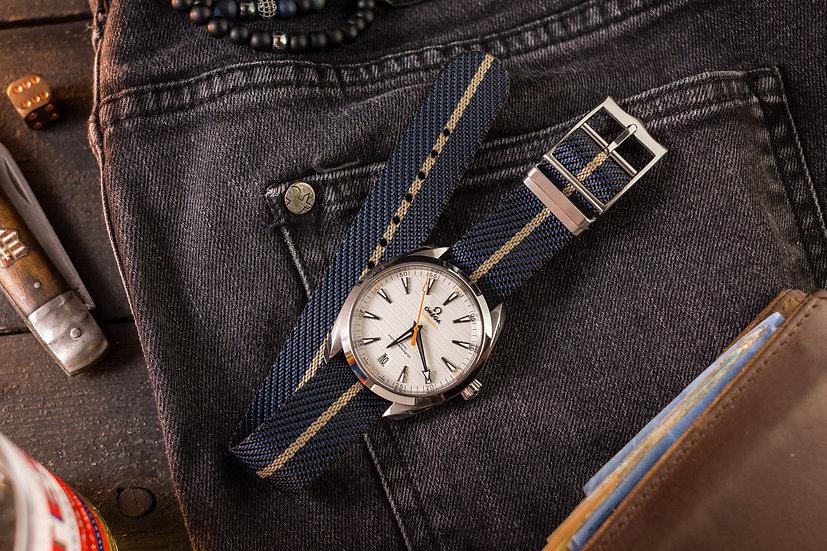22mm Dark Blue and Khaki Adjustable Woven Fabric Single Pass Nato Watch Strap