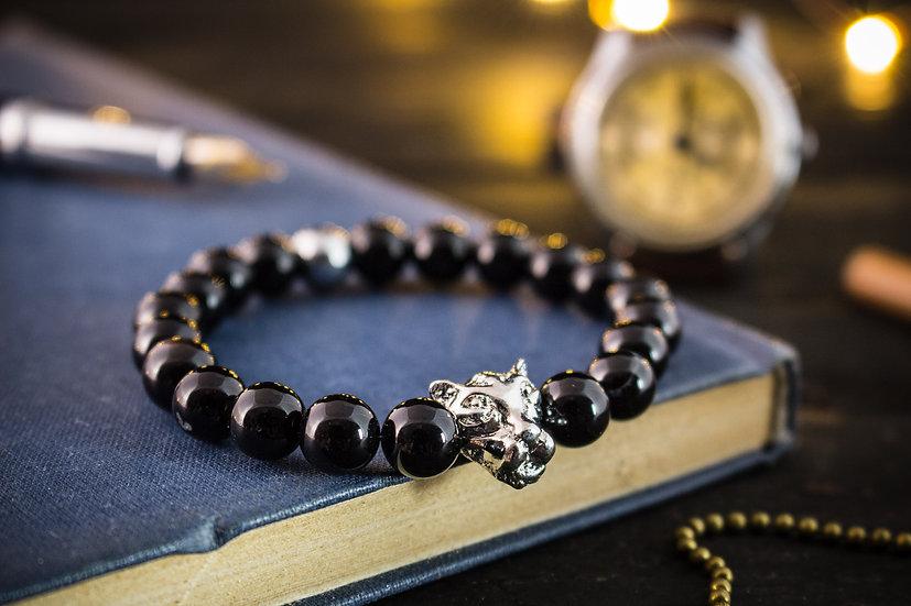 Black onyx beaded stretchy bracelet with silver leopard