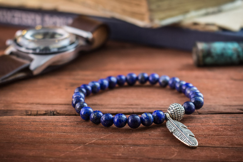 Lapis lazuli beaded stretchy bracelet with silver feather