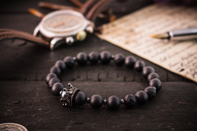 The Black King - Matte black onyx & lava stone beaded stretchy bracelet