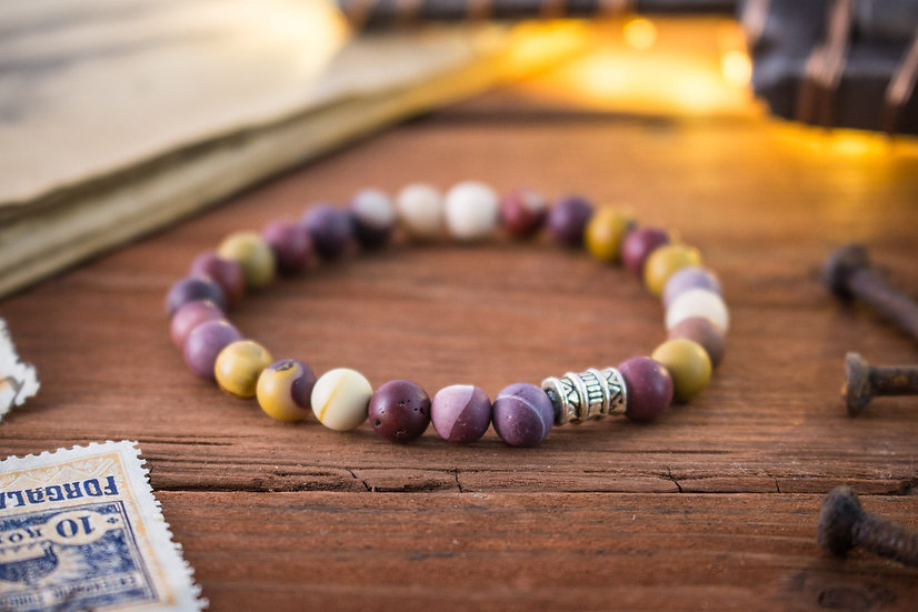 Frosted mookaite beaded stretchy bracelet