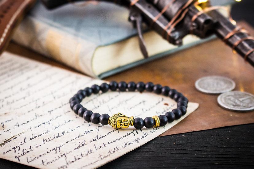 Matte black onyx beaded stretchy bracelet with gold Buddha