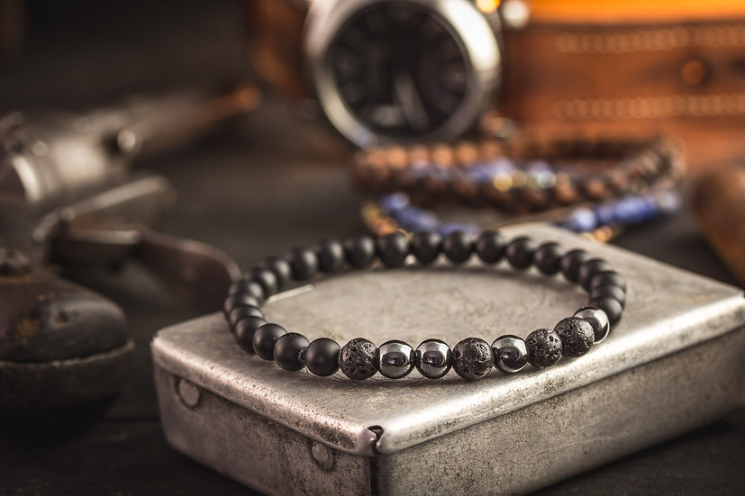 Matte black onyx beaded stretchy bracelet with lava and hematite beads