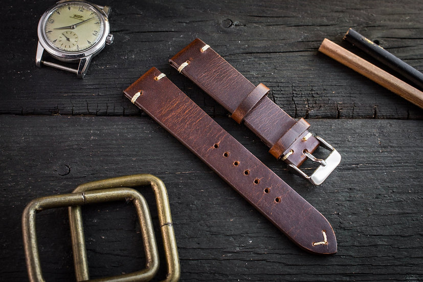 18mm Vintage style dark reddish brown leather strap