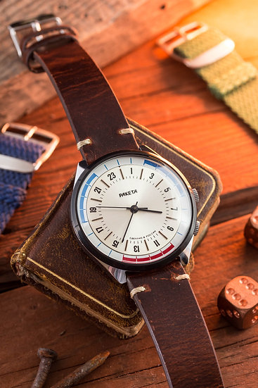 NOS - Vintage 24h Raketa mens watch with signal indicator inner bezel